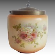 Porcelain English Biscuit Jar With Lid