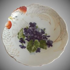 Ceramic Hand Painted Chicken Plate Japan