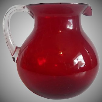 Red Blown Glass Pitcher with a Clear Handle