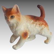 Yellow and White Ceramic Kitty Cat Figurine