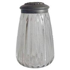 Vintage Crystal Sugar Shaker with Metal Lid