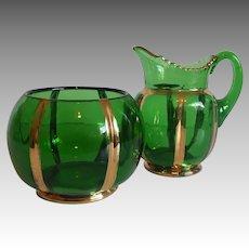 Riverside Emerald X Ray Creamer and Sugar