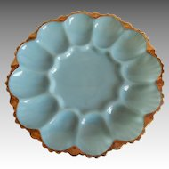 Fire King Anchor Hocking Turquoise Blue Egg Plate
