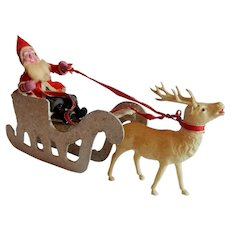 Paper Mache Christmas Santa With Sleigh And Reindeer