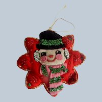 Handcrafted Vintage Christmas Snowman Ornament