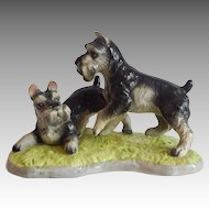 Schnauzer Dogs Playing Ceramic Figurine