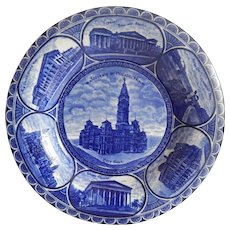 Flow Blue Souvenir Of Philadelphia Plate R & M Co The Rowland & Marsellus Co Staffordshire England
