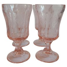 Four Pink Indiana Glass Madrid Recollection Goblets