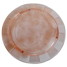 Federal Glass Pink Sharon Cabbage Rose  Cake Plate