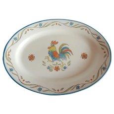 California Metlox Poppytrail Bleu Rooster Platter