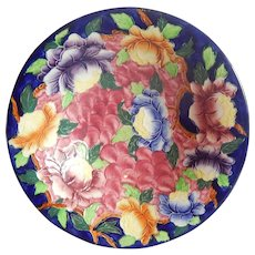 England Cobalt Peonies Bowl by Mailing Ware Pottery