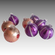 Eight Vintage Christmas Ornaments Glass Balls West Germany