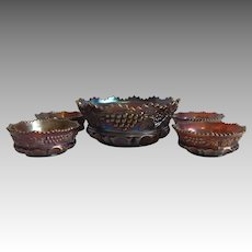 Northwood Carnival Glass Amethyst Grape and Cable Berry Bowl Set