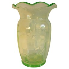Tiffin Glass Uranium Vaseline Green Etched Vase