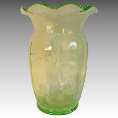 Tiffin Glass Uranium Vaseline Green Etched Vase