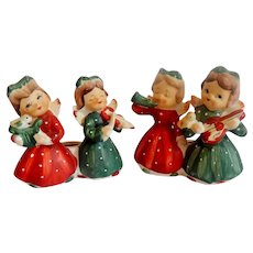 Commadore Ceramic Christmas Candleholders Girls