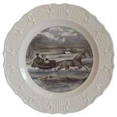 Sun Glo Studios Currier and Ives The Road In Winter Plate