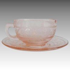 Hazel Atlas Pink Cloverleaf Cup and Saucer
