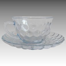 Anchor Hocking Blue Bubble Cup and Saucer