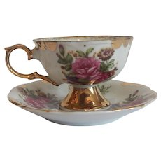 Rose Cup And Saucer Japan