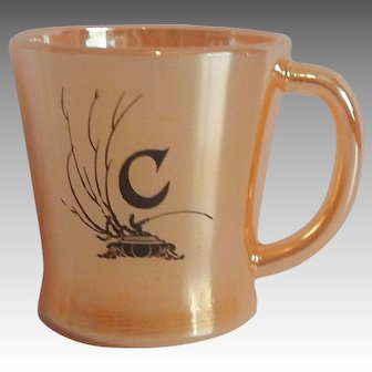 Peach Luster Coffee Mug with the Letter C