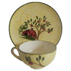 Blue Ridge Pottery Weathervane Cup and Saucer