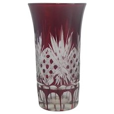 Bohemian Ruby Red Cut to Clear Shot Glass