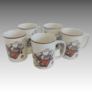 Five Fitz & Floyd Variations Santa Christmas Mugs