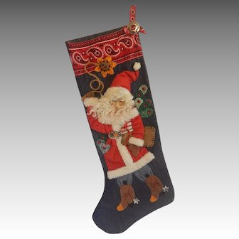 House Of Hatten Cowboy Santa Christmas Stocking