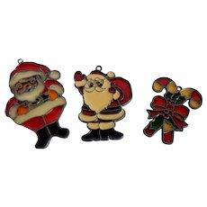 Three Kurt Adler Stained Glass Christmas Ornaments