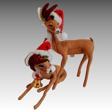 Two Annalee Doll Christmas Reindeers