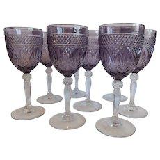 8 Amethyst Cristal D'Arques Goblets