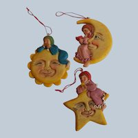Three Christmas Ornaments Sun Moon Star