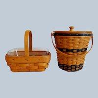 Miniature Longaberger Banker Waste Basket  and Horizon Of Hope Basket