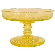 Vaseline Glass Compote Dish