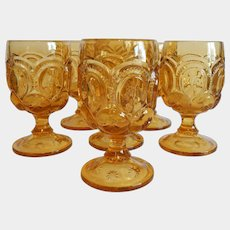 Six Moon & Star Light Amber Water Goblets