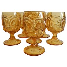 Six Moon & Star Light Amber Water Goblets