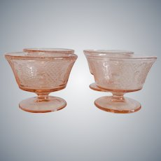 Four Pink Normandie Sherbets Federal Glass Company