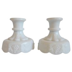 Westmoreland Milk Glass Paneled Grape Candlestick Holders