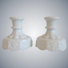 Westmoreland Milk Glass Paneled Grape Candlestick Holders