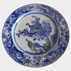 Flow Blue Green Bird Dinner Plate