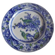 Flow Blue Green Bird Dinner Plate