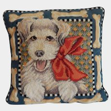 Joanne West Needlepoint Molly the Dog Pillow