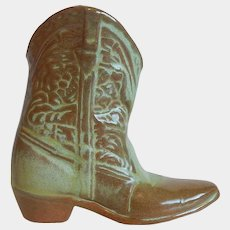 Frankoma Pottery Cowboy Boot Vase