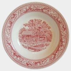 Royal China Red / Pink Memory Lane Flat Soup Bowl