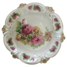 Germany  Bowl Roses and Lily of the Valley ca. 1890's to early 1900's