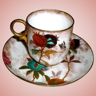 Rare Royal Doulton Burslem Cup & Saucer Pomegranates & Fruit with sponged Gold Coin accents   ca. 1886 - 1902