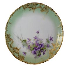 """Limoges Haviland Charger~ 13"""" ~ Hand Painted Violets with Heavy Gilding ~ ca. 1888 ~"""