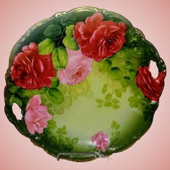 P. T ~ Tirschenreuth Bavaria Tray ~ Hand Painted Roses ~ Artist Signed ~ ca. 1903-1918