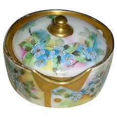 SOLD ~ Rosenthal Bavaria Button Box ~ ca.1891 1906 ~ Hand Painted Forget Me Nots with Gold Coin